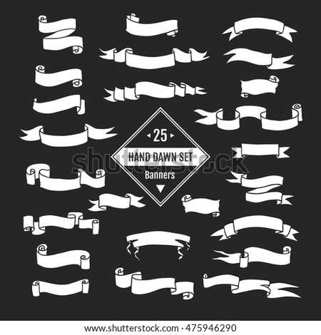 Vector  hand drawn big set of ribbon banners and arrows isolated on black background and easy to use. Black and white collections.