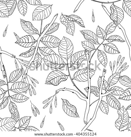 Vector hand drawn black and white floral seamless pattern of ash tree for textile, fabric, postcards, wallpaper, scrapbooking and others - stock vector