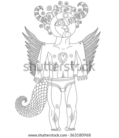 Vector hand drawn black and white graphic illustration of weird creature, cartoon nude man with wings, animal side of human being. Idol concept, artistic allegory drawing.  - stock vector