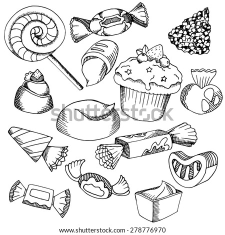 Vector Hand Drawn black graphic candy contour on white background.