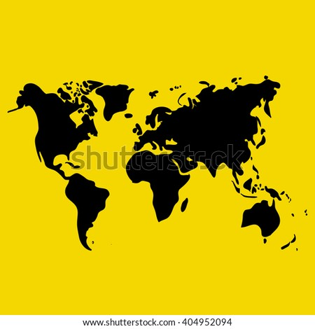 Vector hand drawn black world map on yellow background, doodle illustration - stock vector