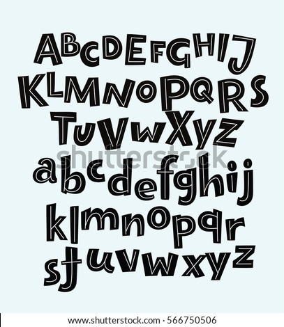 Vector Hand Drawn Bold Comic Funny Black English Alphabets In Vintage Style Uppercase And Lowercase Letters