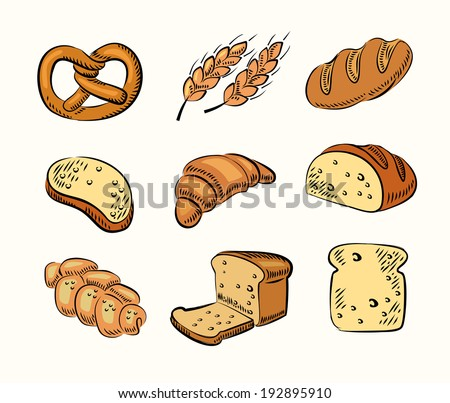vector hand drawn bread icons set on beige