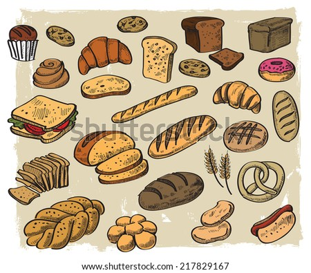 vector hand drawn bread on white background