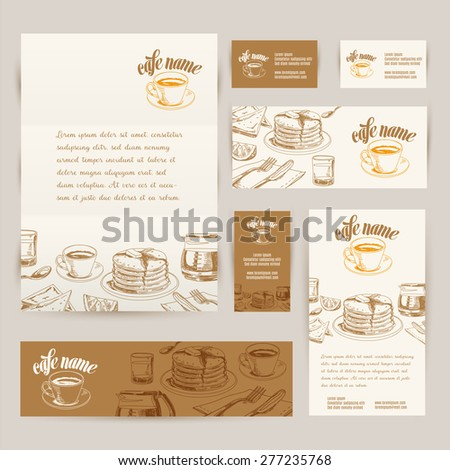 Vector hand drawn breakfast and branch backgrounds set. Menu illustration. - stock vector