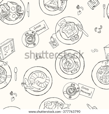 Vector hand drawn breakfast seamless pattern. Vintage illustration for design menus, recipes and packages product.