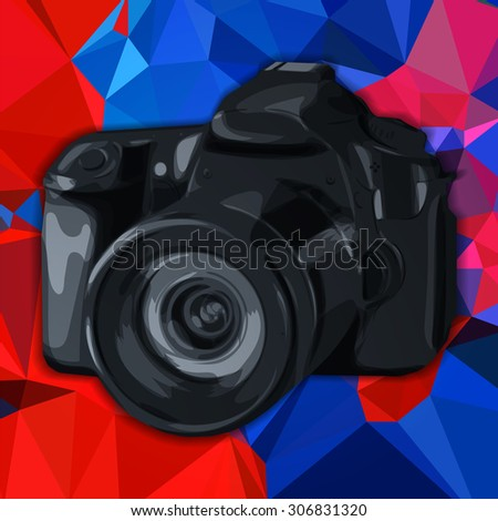 Vector hand drawn camera on isolated abstract polygonal background - stock vector