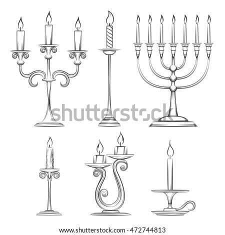 vector hand drawn candlesticks vintage candelabra stock