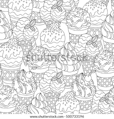 Vector Hand Drawn Cartoon Ice Cream Illustration For Adult Coloring Book Freehand Sketch