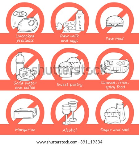 Vector hand drawn cartoon set with pregnancy prohibited food. Pregnancy nutrition concept. Pregnant diet, healthy lifestyle concept. Unhealthy pregnancy food - stock vector
