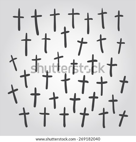 vector hand drawn christian cross. rood sketch on a white background
