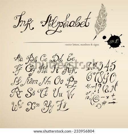 Vector hand drawn classic Alphabet.Letters and numbers.Ink. - stock vector