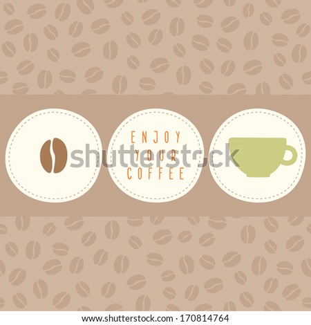 Vector hand drawn coffee card template - stock vector