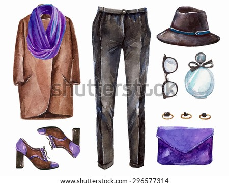Vector hand drawn collage of spring ore autumn girl clothing and accessories isolated on white background. Outfit of casual  elegant woman style. Create by watercolor  - stock vector