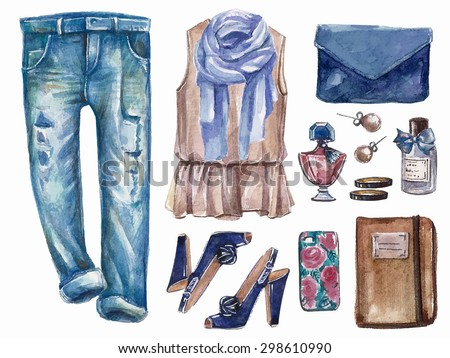 Vector hand drawn collage of summer ore spring girl clothing and accessories isolated on white background. Outfit of casual and elegant woman style. Create by watercolor  - stock vector