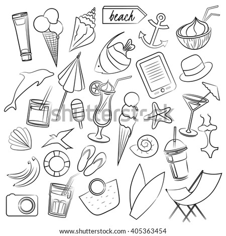Vector hand-drawn collection of summer elements. Graphic vector illustration for your design