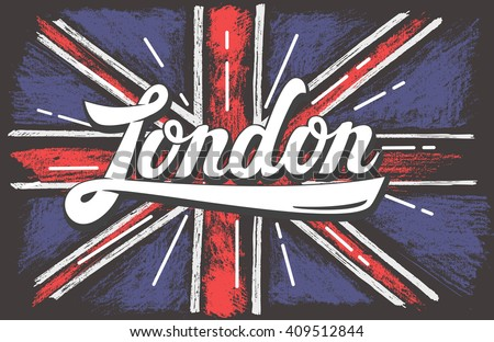 vector hand drawn color UK dirty flag - stock vector