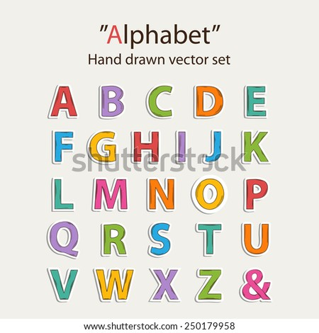 Vector hand drawn colored  alphabet sticer set with shadow - stock vector