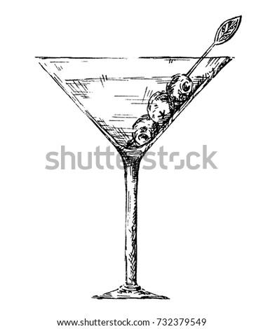 Vector Hand Drawn Contour Of Martini Glass