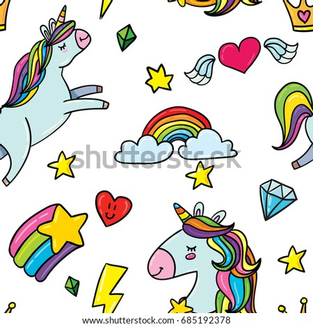 vector hand drawn cute doodle seamless pattern background of unicorn horse, stars, rainbow, diamond, gem, flying heart with wings and king crown on white background. 90s comic funny style