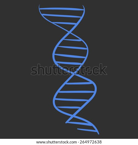 Vector hand drawn DNA spiral acid symbol sketch on a black background - stock vector