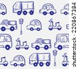 Vector hand drawn doodle cartoon cars seamless pattern - stock photo