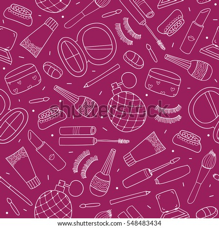 Vector hand drawn doodle cosmetics seamless pattern , background. Outline style.