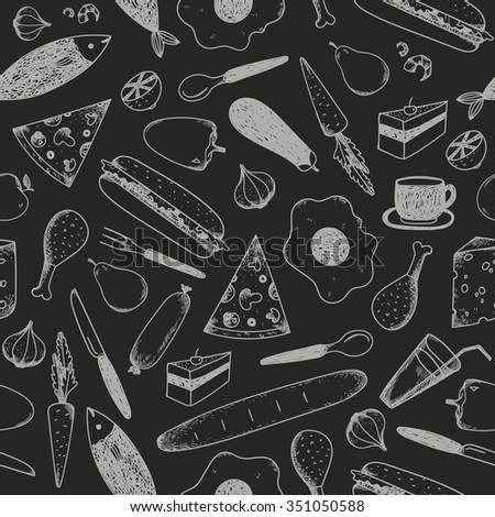 Vector hand drawn doodle food seamless patterns. Chalkboard, white on black background. - stock vector