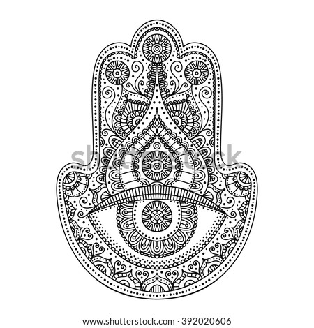 Vector Hand Drawn Doodle Hamsa With Ornament Ethnic Flowers And Dots Coloring