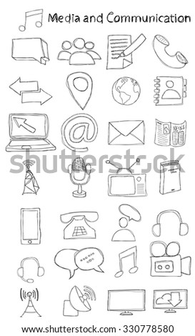 Vector, hand drawn, doodle media and communication icon set.