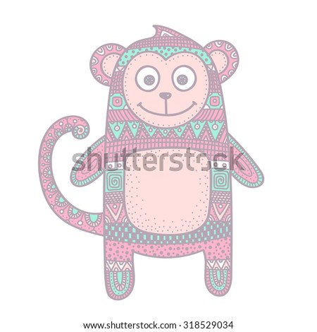 Vector hand drawn doodle monkey. Figure with abstract ornament. Ethnic tribal animal. Cute design for children. Pastel colors - pink, mint, grey.