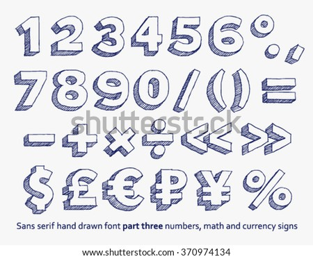Vector hand drawn doodle numbers, mathematical  and money signs - stock vector