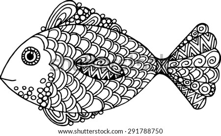 vector hand drawn doodle outline fish illustration decorative fish drawing with abstract ornaments - Outline Of Fish