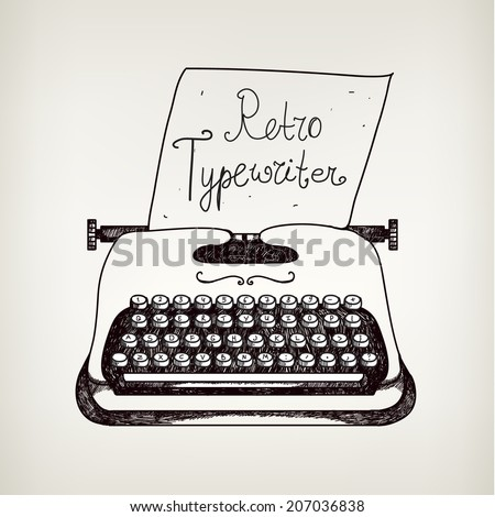 vector hand drawn doodle retro black ans white typewriter with paper. Can use it for advertising, banner, card, etc. - stock vector