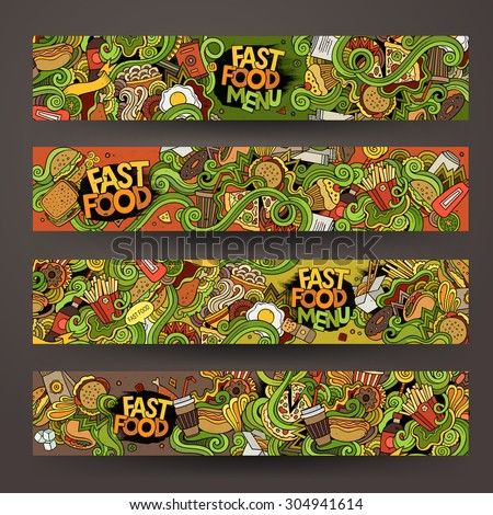 Vector hand drawn doodles fast food banners design templates set - stock vector
