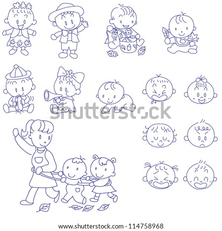 Vector hand drawn doodles sketches of babies - stock vector