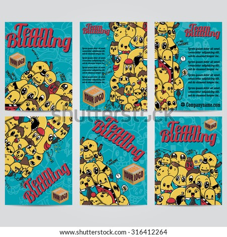 Vector hand drawn doodles team building design banners  cards, postcards, brochures, and posters template set - stock vector