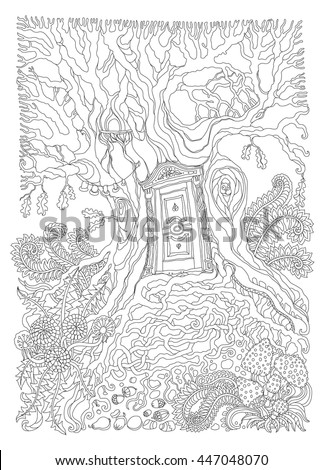 Vector hand drawn fantasy old oak tree with entrance wooden door. Black and white sketch . Tee-shirt print. Adults and children Coloring book page. Batik paint  - stock vector