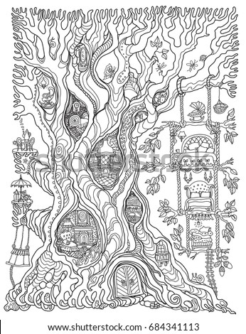 Vector Hand Drawn Fantasy Old Oak Tree With Fairy Tale House Toy Furniture Black
