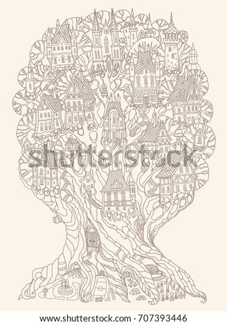 Vector Hand Drawn Fantasy Old Oak Tree With Fairy Tale Houses, Castles And  Palaces.