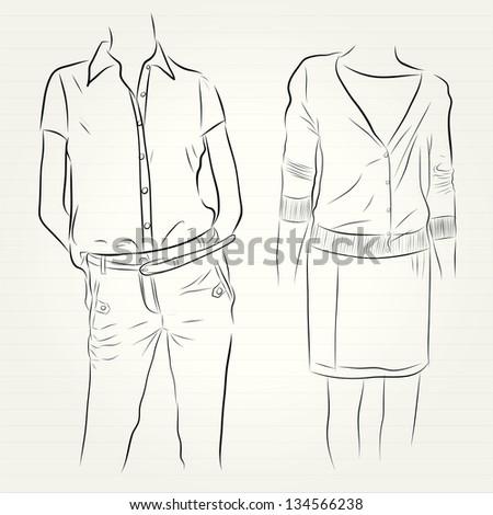 vector hand drawn Fashion illustration - stock vector