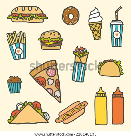 Vector hand drawn fast-food