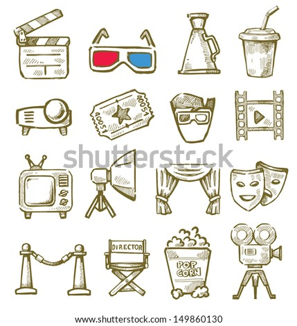 vector hand drawn film icons set on white - stock vector