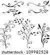 vector hand drawn floral design elements - stock vector