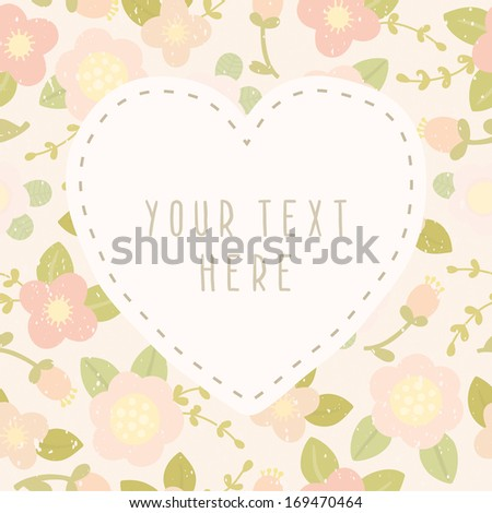 Vector hand drawn floral love greeting card - stock vector