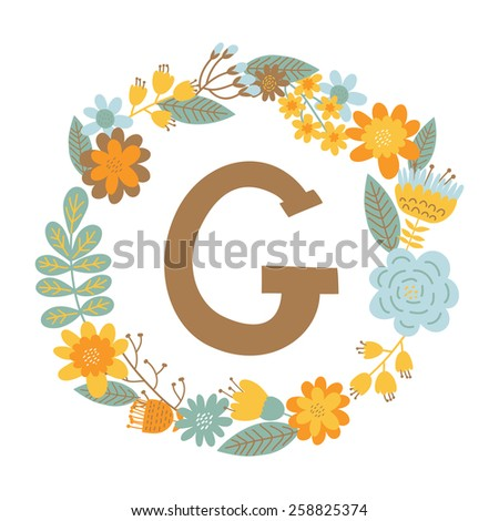 """Vector hand drawn Floral monogram with vintage flowers. Letters """"G"""" can be used for backgrounds of flyers, posters, invitations, cards, webs graphics, blogs, banners, and another design. - stock vector"""