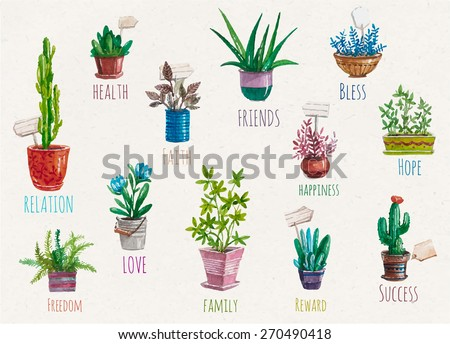 Vector hand drawn flower pots.Love home garden.Watercolor collection,gardening design elements,flower pots,leaves. Illustration for poster, postcard,invitations,wedding, birthday party,wish list - stock vector
