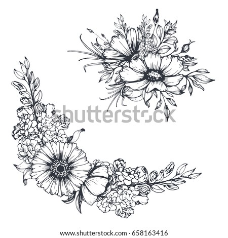 Vector Hand Drawn Flowers Sketch Floral Stock Vector 658163416 - Shutterstock