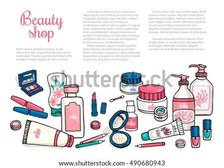 Vector hand drawn flyers template for make-up products. Cosmetics background for corporate identity beauty store. Printed materials for brochures, folder, flyers, banners.