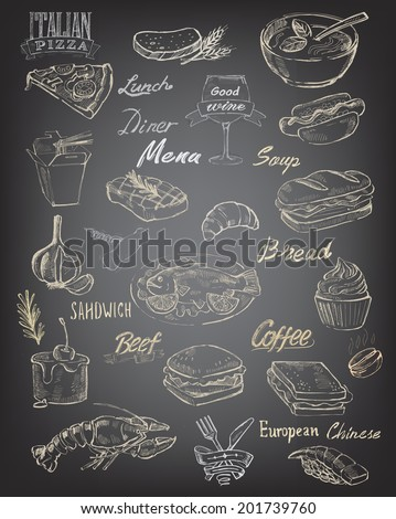 vector hand drawn food and meal on black background - stock vector